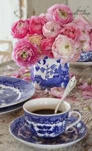 pale pink peonies blue and white china